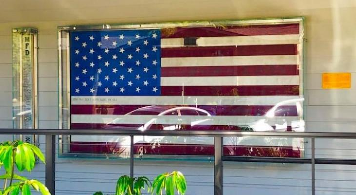 Coast Village Plaza Fire Hose Flag Dedicated to First Responders