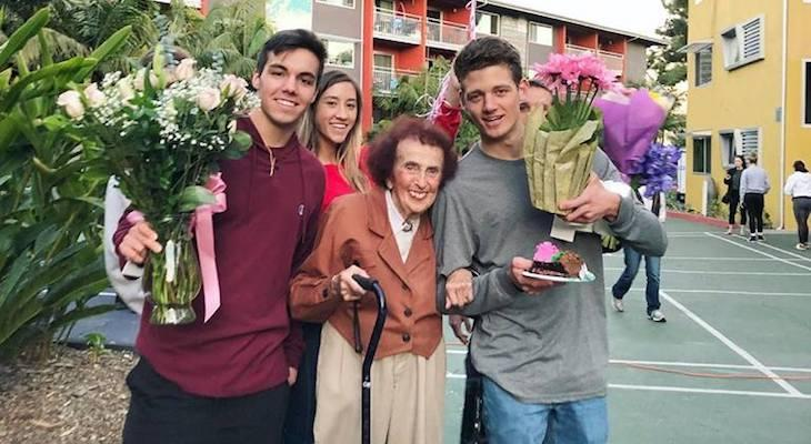 College Students Throw Birthday Party for 94-Year-old Neighbor