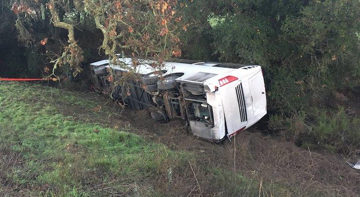Overturned Bus Accident Causes 7 Injuries Near Los Alamos
