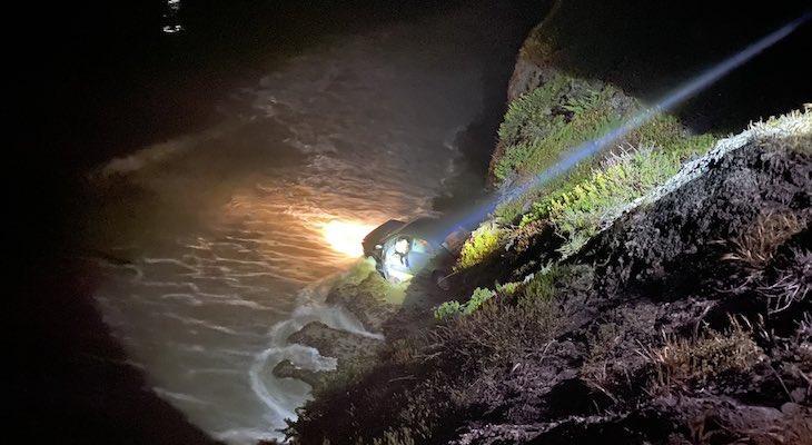 Vehicle Crashes Over Isla Vista Cliff