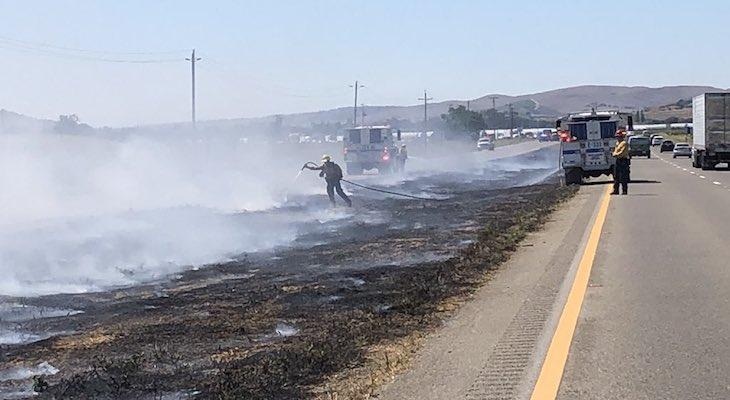 Brush Fire in Highway 101 Center Divider Near Los Alamos