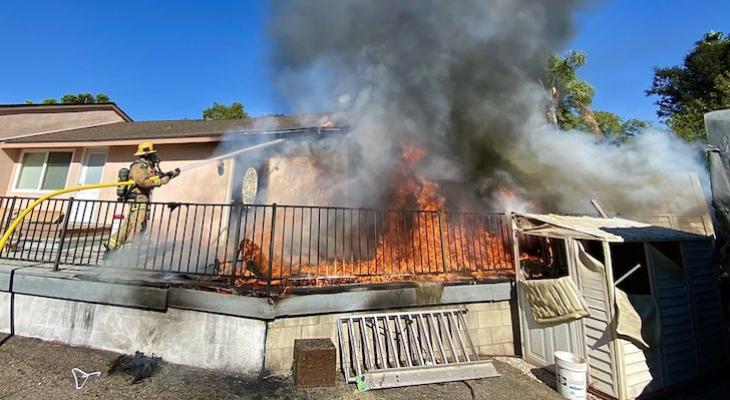 Firefighters Knock Down Deck Fire