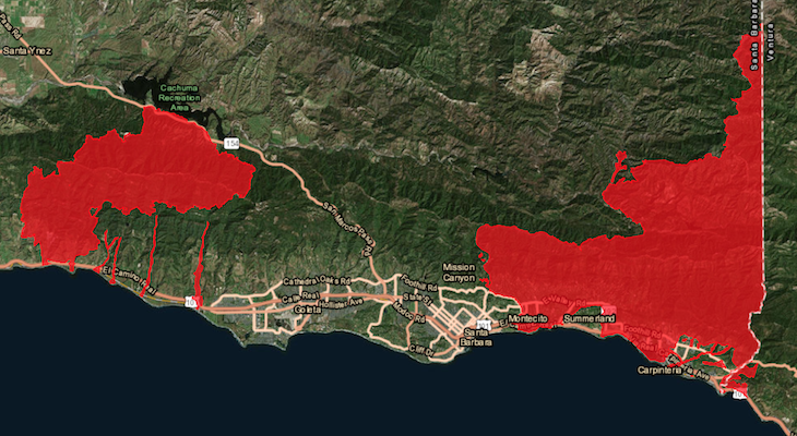 Mandatory Evacuations Lifted for Santa Barbara County