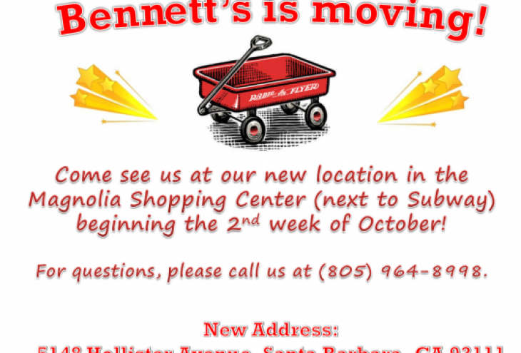 Bennett's Educational is Moving