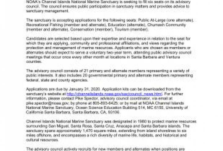NOAA Channel Islands National Marine Sanctuary is seeking applications to join the Sanctuary Advisory Council